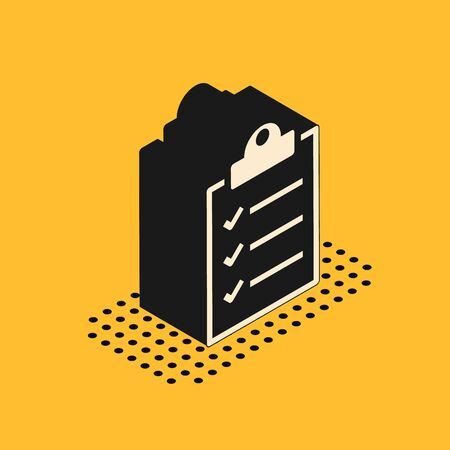 Isometric Clipboard with checklist icon isolated on yellow background. Vector Illustration
