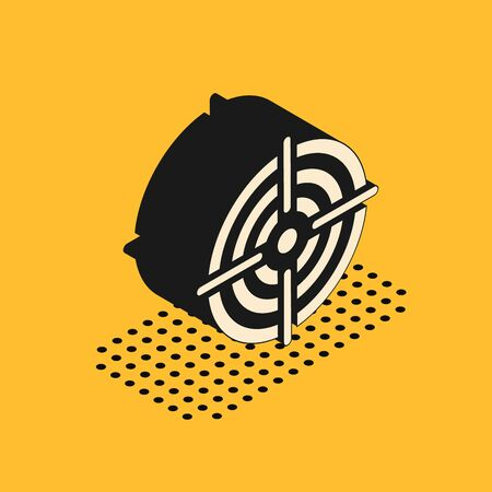 Isometric Target sport for shooting competition icon isolated on yellow background. Clean target with numbers for shooting range or pistol shooting. Vector Illustration
