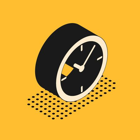 Isometric Clock icon isolated on yellow background. Vector Illustration  イラスト・ベクター素材
