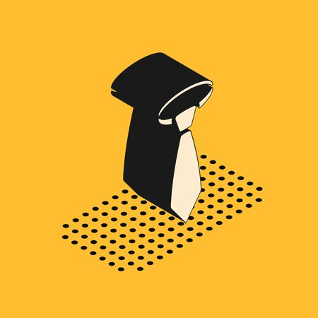 Isometric Tie icon isolated on yellow background. Necktie and neckcloth symbol. Vector Illustration Stock Vector - 132175760