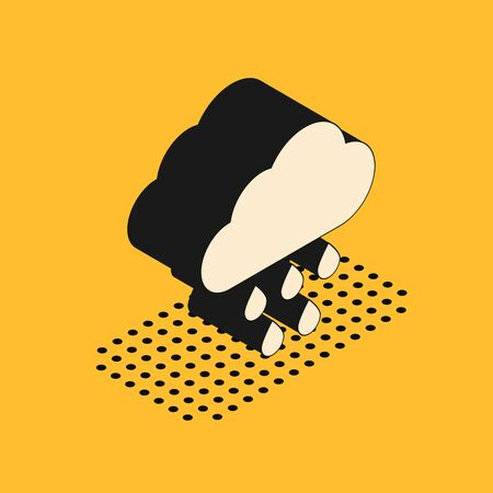 Isometric Cloud with rain icon isolated on yellow background. Rain cloud precipitation with rain drops. Vector Illustration