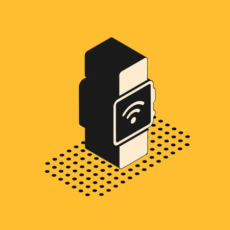 Isometric Smartwatch with wireless symbol icon isolated on yellow background. Vector Illustration Illusztráció