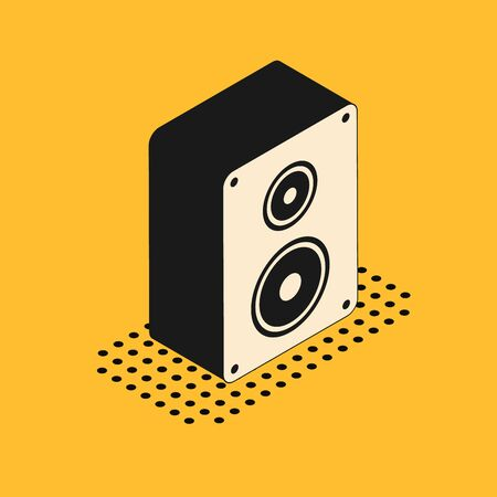 Isometric Stereo speaker icon isolated on yellow background. Sound system speakers. Music icon. Musical column speaker bass equipment. Vector Illustration