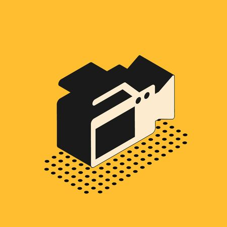 Isometric Cinema camera icon isolated on yellow background. Video camera. Movie sign. Film projector. Vector Illustration