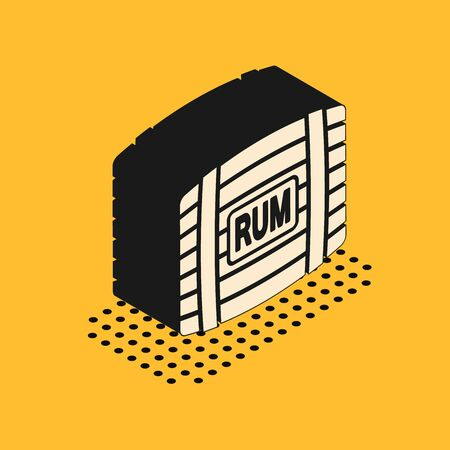 Isometric Wooden barrel with rum icon isolated on yellow background. Vector Illustration 向量圖像