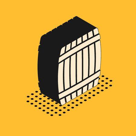 Isometric Wooden barrel icon isolated on yellow background. Vector Illustration 向量圖像
