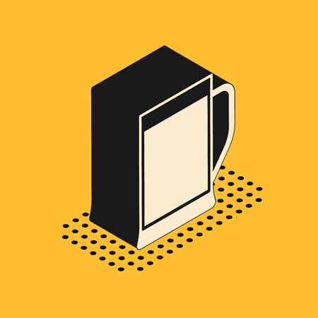 Isometric Glass of beer icon isolated on yellow background. Vector Illustration
