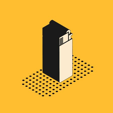 Isometric Lighter icon isolated on yellow background. Vector Illustration
