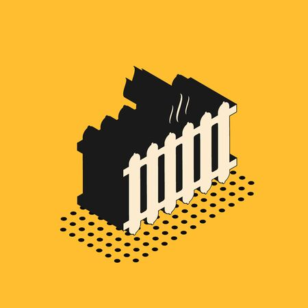 Isometric Heating radiator icon isolated on yellow background. Vector Illustration