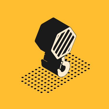 Isometric Industrial hook icon isolated on yellow background. Crane hook icon. Vector Illustration