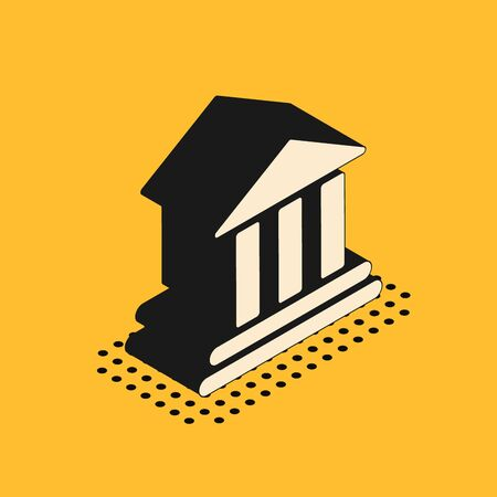Isometric Bank building icon isolated on yellow background. Vector Illustration
