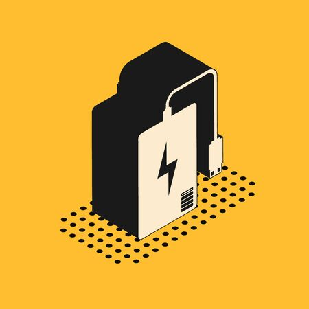 Isometric Power bank with different charge cable icon isolated on yellow background. Portable charging device. Vector Illustration Illusztráció