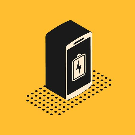 Isometric Smartphone battery charge icon isolated on yellow background. Phone with a low battery charge. Vector Illustration Illusztráció
