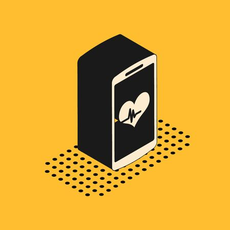 Isometric Smartphone with heart rate monitor function icon isolated on yellow background. Vector Illustration