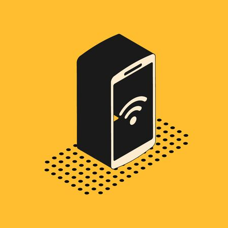 Isometric Smartphone with free wifi wireless connection icon isolated on yellow background. Wireless technology, wireless network, hotspot concepts. Vector Illustration