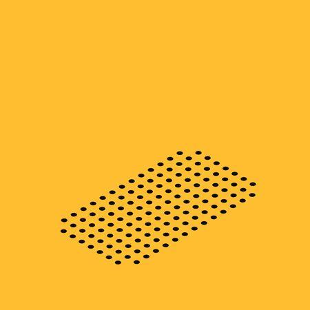 Icône de lunettes de cinéma 3D isométrique isolé sur fond jaune. Illustration vectorielle