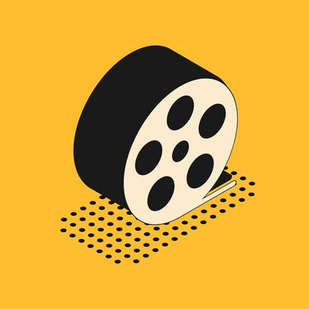 Isometric Film reel icon isolated on yellow background. Vector Illustration Illustration