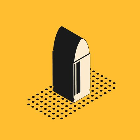 Isometric Bullet icon isolated on yellow background. Vector Illustration