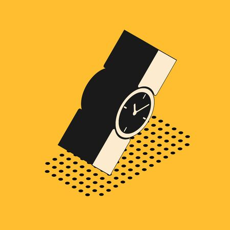 Isometric Wrist watch icon isolated on yellow background. Wristwatch icon. Vector Illustration