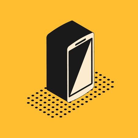 Isometric Smartphone, mobile phone icon isolated on yellow background. Vector Illustration