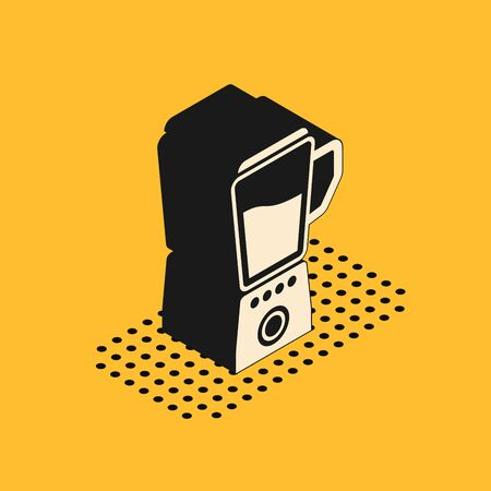 Isometric Blender icon isolated on yellow background. Kitchen electric stationary blender with bowl. Cooking smoothies, cocktail or juice. Vector Illustration