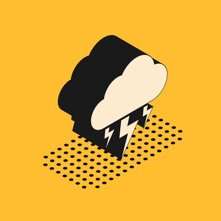 Isometric Storm icon isolated on yellow background. Cloud and lightning sign. Weather icon of storm. Vector Illustration Illustration