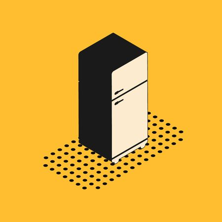Isometric Refrigerator icon isolated on yellow background. Fridge freezer refrigerator. Household tech and appliances. Vector Illustration Ilustração