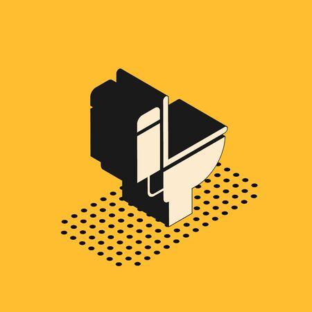 Isometric Toilet bowl icon isolated on yellow background. Vector Illustration Çizim