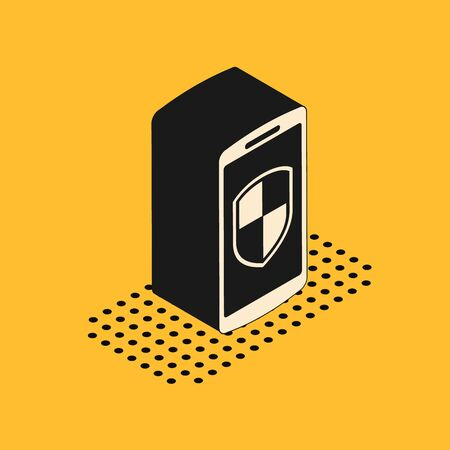 Isometric Smartphone, mobile phone with security shield icon isolated on yellow background. Vector Illustration