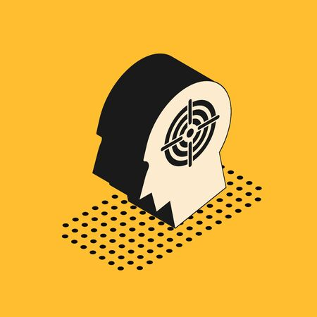 Isometric Head hunting concept icon isolated on yellow background. Business target or Employment sign. Human resource and recruitment for business. Vector Illustration