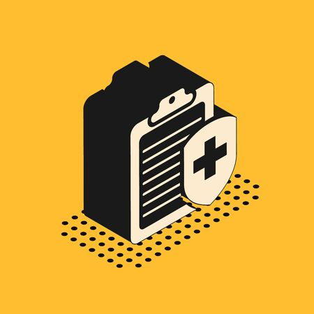 Isometric Clipboard with medical insurance icon isolated on yellow background. Patient protection. Clipboard and shield with a cross. Vector Illustration