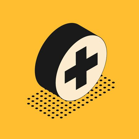 Isometric Medical cross in circle icon isolated on yellow background. First aid medical symbol. Vector Illustration