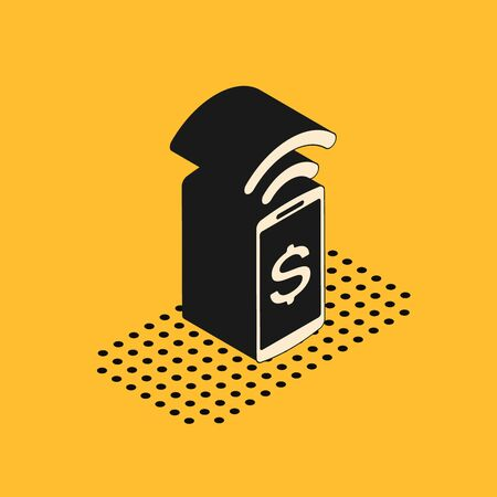 Isometric Contactless payment icon isolated on yellow background. Mobile wallet technology, nfc, wireless payment with smartphone. Vector Illustration