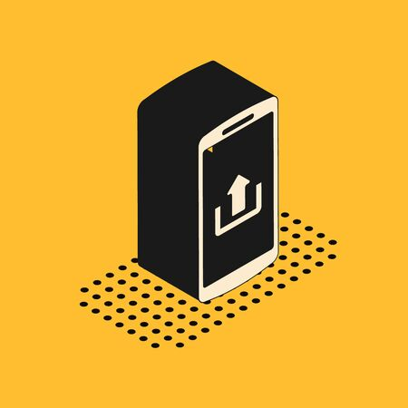 Isometric Smartphone with upload icon isolated on yellow background. Vector Illustration