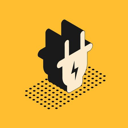 Isometric Electric plug icon isolated on yellow background. Concept of connection and disconnection of the electricity. Vector Illustration