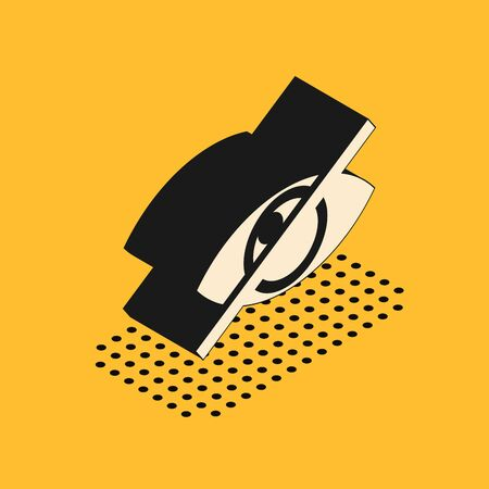 Isometric Invisible or hide icon isolated on yellow background. Vector Illustration