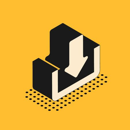 Isometric Download icon isolated on yellow background. Upload button. Load symbol. Arrow point to down. Vector Illustration