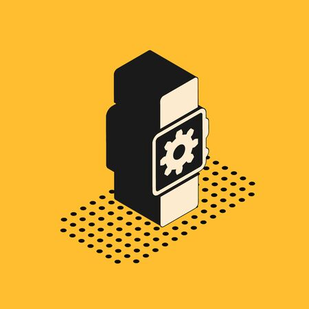 Isometric Smartwatch setting icon isolated on yellow background. Smart watch settings. Vector Illustration Standard-Bild - 132178503
