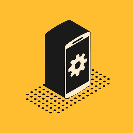 Isometric Setting on smartphone icon isolated on yellow background. Mobile phone and gear. Adjusting, service, setting, maintenance, repair, fixing. Vector Illustration Illusztráció
