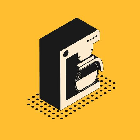Isometric Coffee machine with glass pot icon isolated on yellow background. Vector Illustration 向量圖像