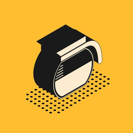 Isometric Coffee pot icon isolated on yellow background. Vector Illustration
