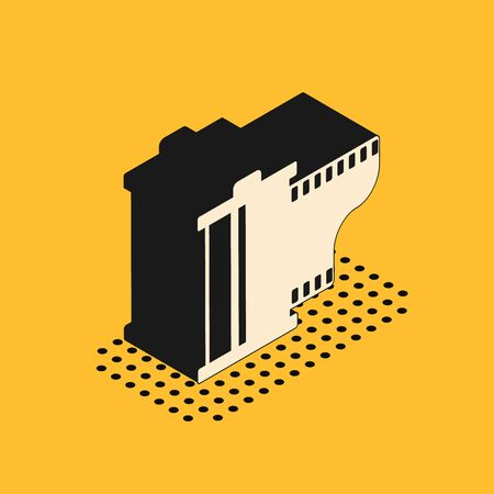 Isometric Camera vintage film roll cartridge icon isolated on yellow background. Film reel. 35mm film canister. Filmstrip photographer equipment. Vector Illustration