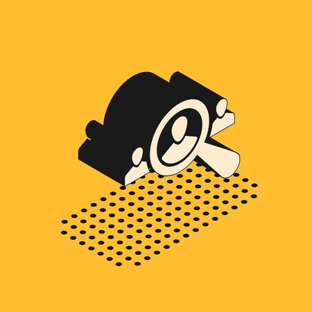 Isometric Magnifying glass for search a people icon isolated on yellow background. Recruitment or selection concept. Search for employees and job. Vector Illustration
