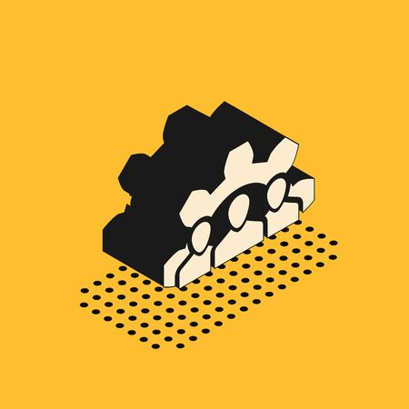 Isometric Project team base icon isolated on yellow background. Business analysis and planning, consulting, team work, project management. Vector Illustration