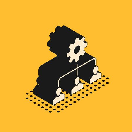 Isometric Lead management icon isolated on yellow background. Vector Illustration