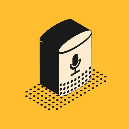 Isometric Voice assistant icon isolated on yellow background. Voice control user interface smart speaker. Vector Illustration