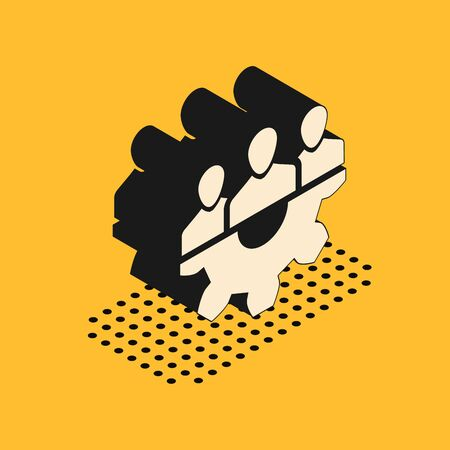 Isometric Project team base icon isolated on yellow background. Business analysis and planning, consulting, team work, project management. Developers. Vector Illustration Illustration