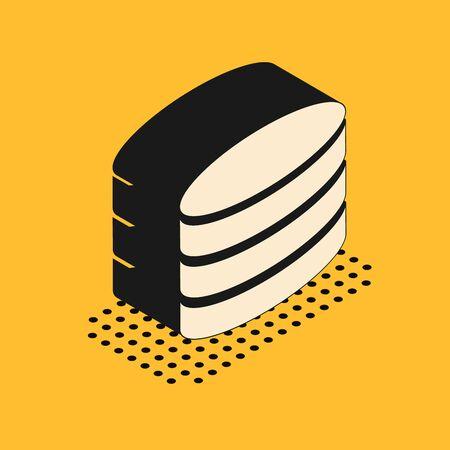 Isometric Database icon isolated on yellow background. Network databases, disc with progress bar. Backup concept. Vector Illustration