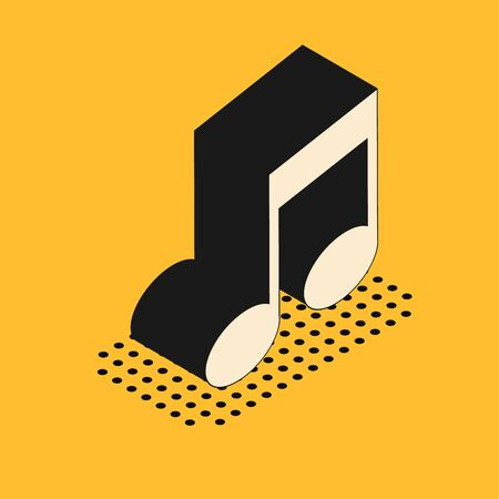 Isometric Music note, tone icon isolated on yellow background. Vector Illustration
