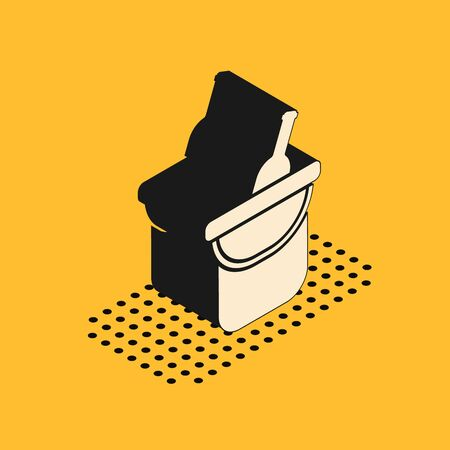 Isometric Bottle of wine in an ice bucket icon isolated on yellow background. Vector Illustration